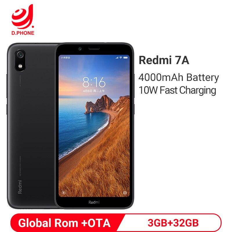 Xiaomi Redmi 7A 3GB 32GB Smartphone 5.45 Snapdragon 439 Octa Core 4000mAh batterie 12MP caméra globale Rom 4G téléphone portable