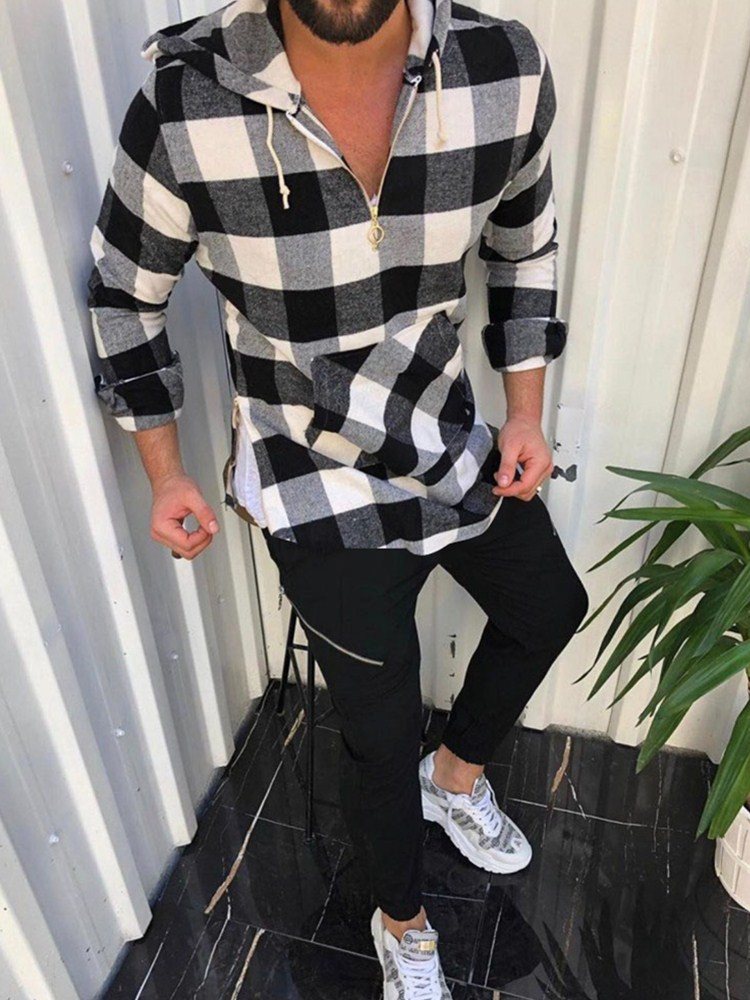 Men's Shirts  Printed Male Blouse Tops Casual Loose LongSleeve Buttons Shirt Men Streetwear Camisa Masculina Zipper Shirts