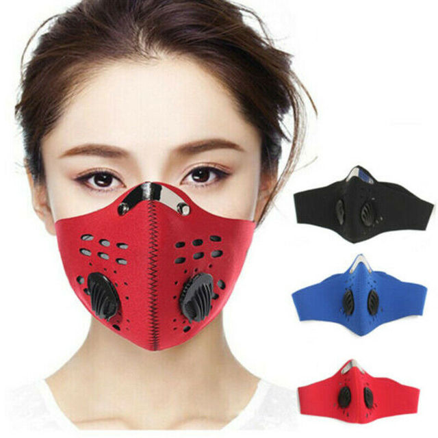 Anti Flu PM2.5 Cycling Face Mask Breathable Double Air Valve Bicycle Mouth Mask Dust Smog Windproof Reusable Bike Half Face Mask 5