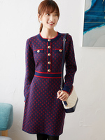 New coco knitted long sleeve dress wool women s autumn and winter wool dress