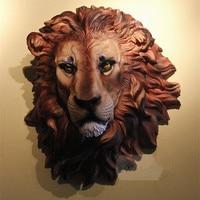 49cm African Lion Head Figurine Wall Decor 3D Animal Head Resin Bar Club Clothing Store KTV Wall Hanging Decoration R2717
