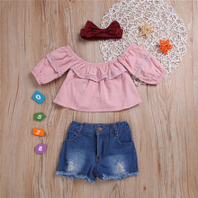 Get more info on the 2019 Fashion Toddler Baby Girls Clothing Baby Girls Off Shoulder Solid Tops+ Jeans Shorts Outfits Set #30