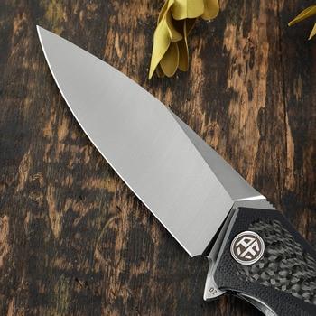 PF838C Petrified fish D2 steel  flipper folding knives outdoor  pocket knife G10+Carbon fiber handle camping hunting  EDC tool 5