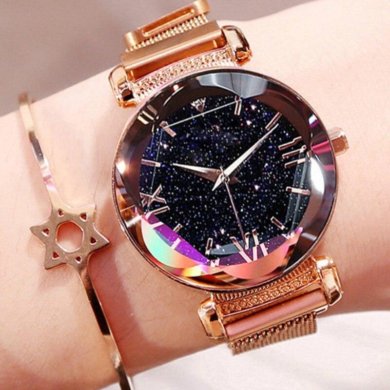 Luxury Rose Gold Women Watches Fashion Diamond Ladies Starry Sky Magnet Watch Waterproof Female Wristwatch For Gift Clock D7