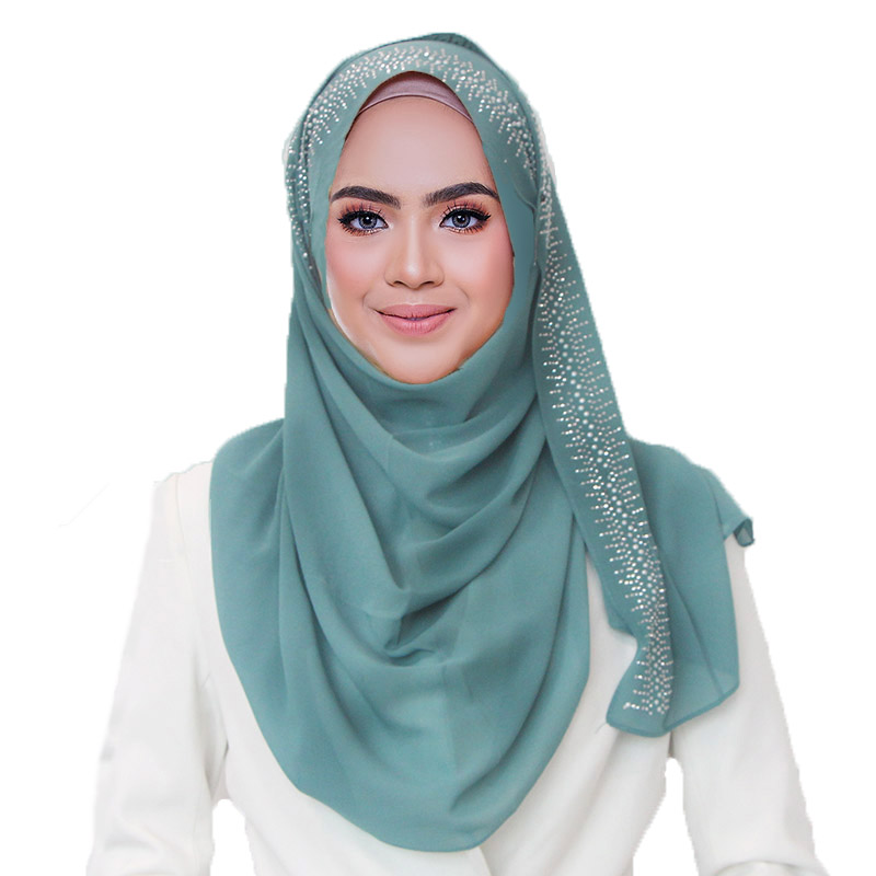 1 Pc New Cotton Scarf With Diamond Women's Plain Pearls Hijab Scarf Female Hijab Scarf Shawl Bead Wrap Muslim Hijabs 22 Colors