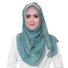 1 pc New Cotton Scarf With diamond Womens Plain Pearls Hijab Female hijab scarf shawl bead wrap Muslim Hijabs 22 colors