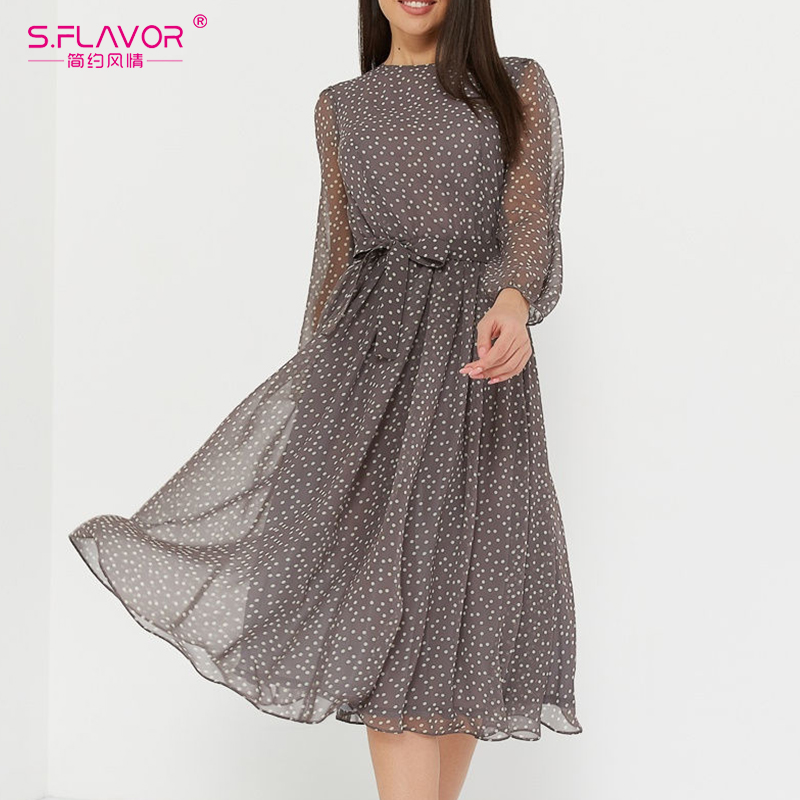 S.FLAVOR Elegant Dot Print Long Sleeve Women Dresses 2020 Winter Casual O Neck Chiffon A LIne Dress Vintage Party Vestidos 1
