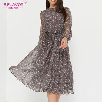 Женское шифоновое платье S.FLAVOR, Повседневное платье в горошек с длинным рукавом и круглым вырезом, винтажные вечерние платья миди, лето 2019