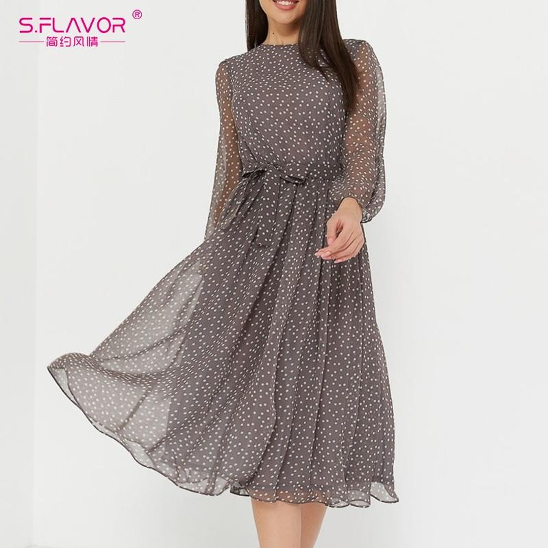 S.FLAVOR Elegant Dot Print Long Sleeve Women Dresses 2020 Winter Casual O Neck Chiffon A LIne Dress Vintage Party Vestidos|Dresses| - AliExpress