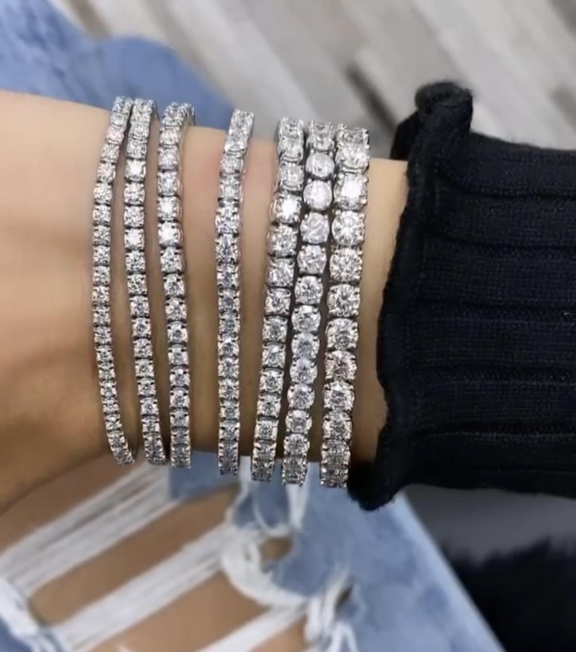 Handmade 925 silver 4-8mm Round Moissanite Diamond Bracelets For Women Men Luxury Engagement Wedding Topaz gemstone Jewelry 18cm