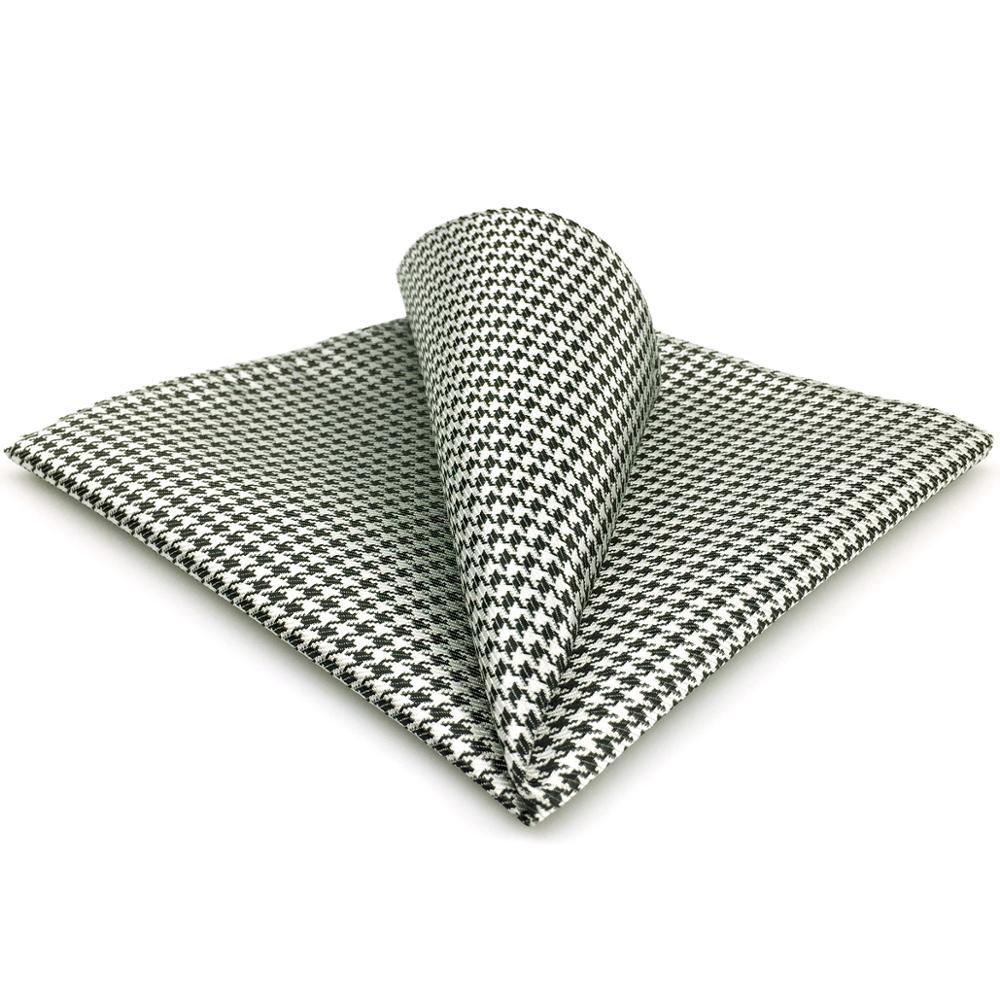 JH20 Checks Pattern White Black Hanky Mens Pocket Square Fashion Casual Handkerchief