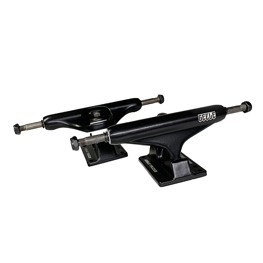 1 Pair Polished Aluminum Alloy Skateboard Longboard Trucks Set - Black - Strong & Durable (21x7x7 Cm)