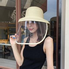 Straw Protective Hat Women Big Brim Face Shield High Top Beach Bucket Hats Cover Travel Anti Droplet Summer Sun Cap