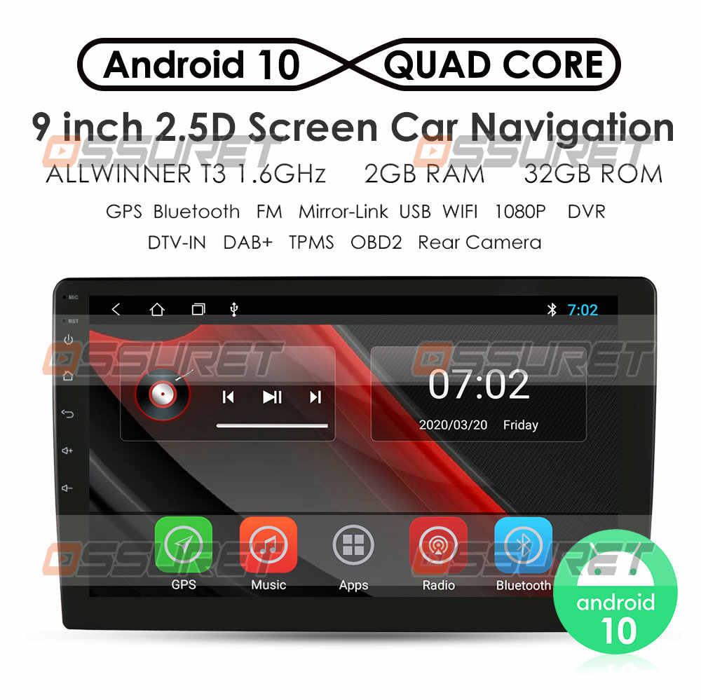 2G + 32G Android 10 Universal 2Din Mobil Radio Multimedia Player Wifi Auto Stereo Audio Video 9Inch 2.5D Touch Screen GPS Navigasi