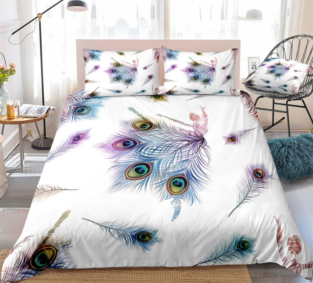 3 Pieces Colorful Peacock Feathers Duvet Cover Set Ballet Dancer Queen Bedding Set White Home Textiles Kids Girls King Dropship(China)
