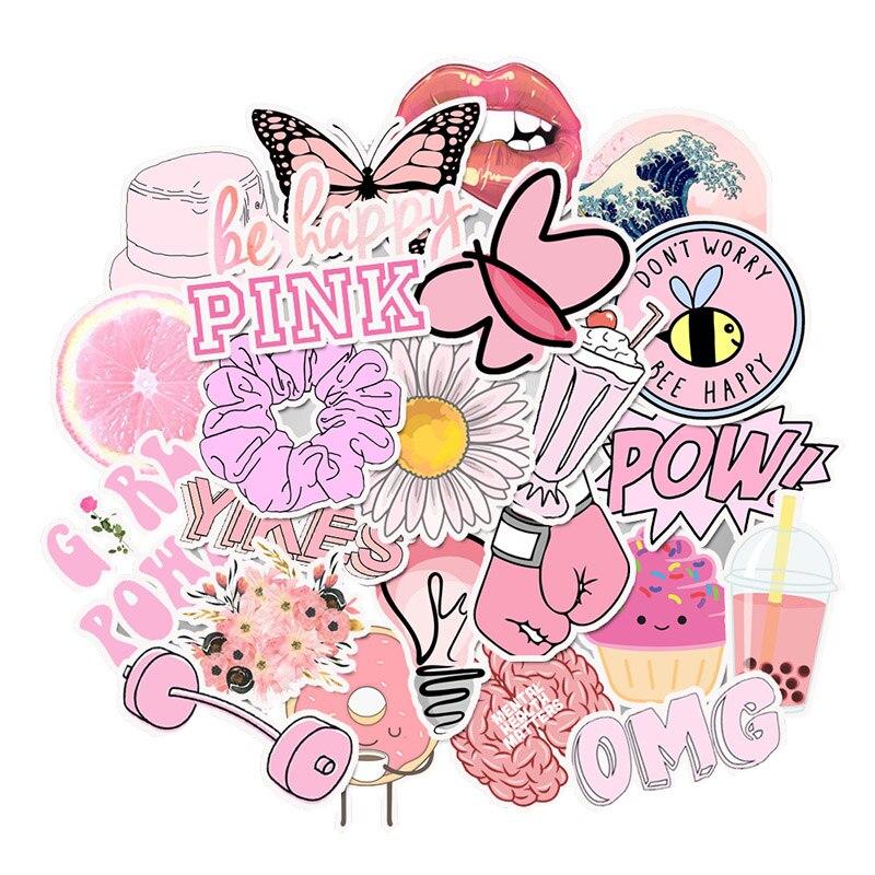 50 PCS Pack Stickers Pink Simple Girl Vsco Sticker Waterproof DIY For On Laptop Fridge Phone Skateboard Suitcase Stickers