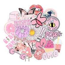 Adesivos rosa simples menina vsco 50 peças, adesivo à prova d' água diy para no laptop geladeira telefone skate mala de mala