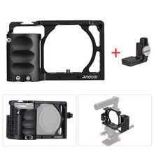 Andoer 비디오 카메라 케이지 + 핸드 그립 키트 소니 A6000 A6300 A6500 NEX7 마운트 마이크 용 케이블 클램프가있는 필름 제작 시스템