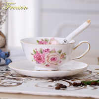 Bone China Floral Tea Cup Saucer Spoon Set Europe Elegant Ceramic Scented Teacup 200ml British Porcelain Coffee Cup Dropshipping
