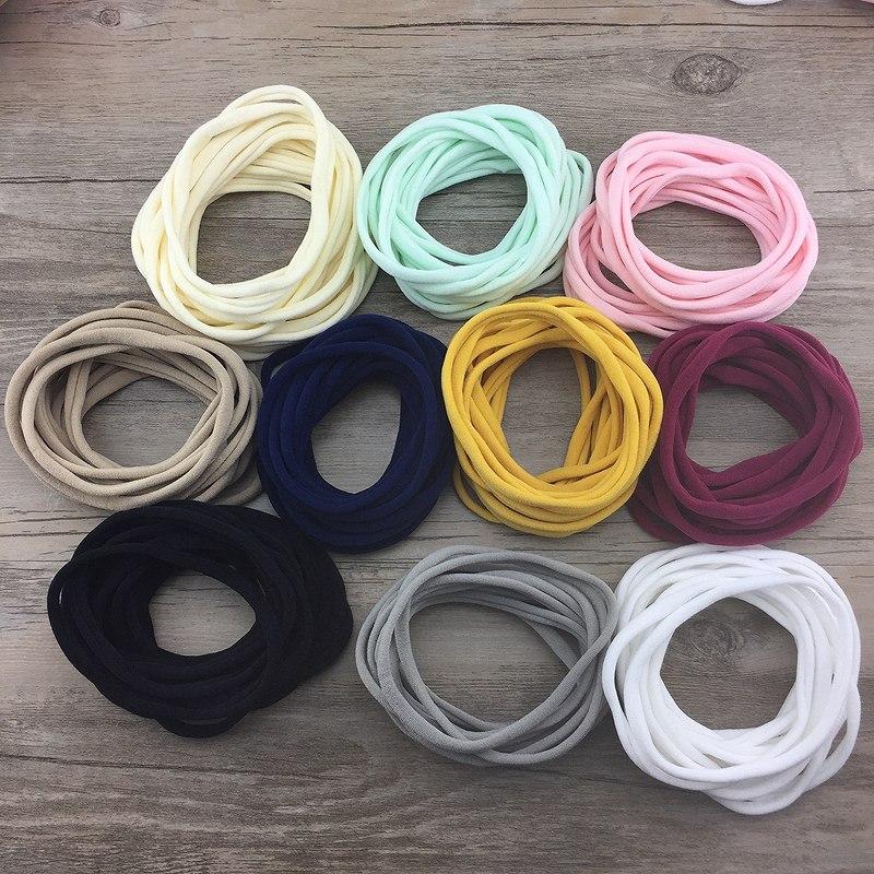 10pcs/lot Super Soft Thin Nylon Headbands Elastic Skinny Headband For Kids Solid Hairband Customized Hair Accessories For Girls