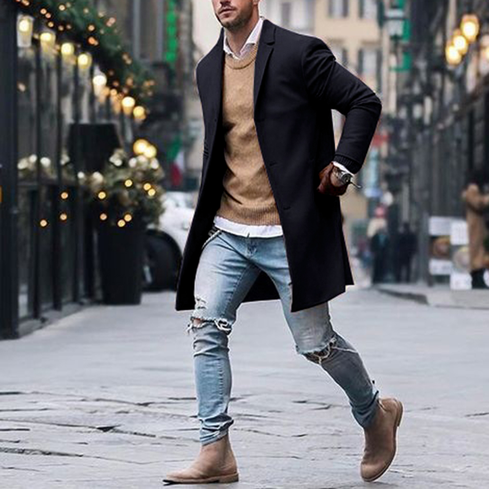 2019 Men Autumn Winter Fashion Solid Business Casual Woolen Trench Coats Male Medium Slim Leisure Button Jackets Tops Streetwear