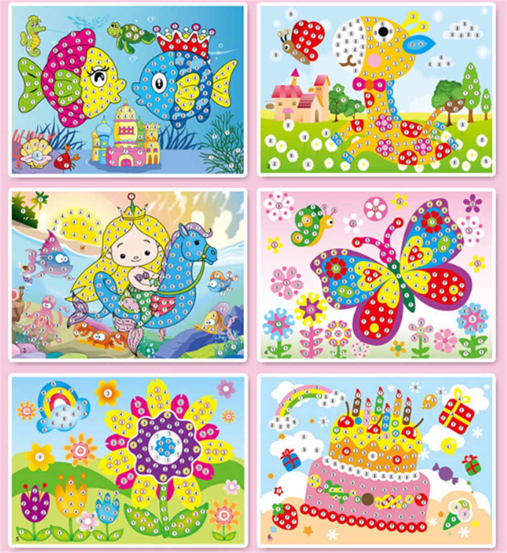 Kolorowe kreskówki 2 w 1 diament kolorowanie rysunek naklejki Handmade DIY zestawy zabawek malowanie edukacja prezent na urodziny dzieci 1pc