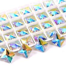 AAAAA Quality Square Crystal AB Sew On Rhinestones Flatback Glass Strass Square стразы Sewing Rhinestones Wedding Dress B3432