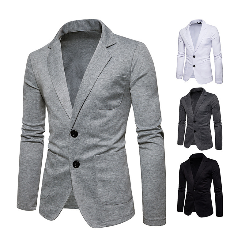 New Style Fashion Men's Two-Button Solid Color Slim Fit Casual Fold-down Collar Small Suit Fashion Coat