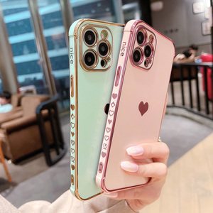 Image 4 - Phone Case For iPhone 12 Mini 11 Pro X XR XS Max 7 8 Plus SE 2 Luxury Cute Side Pattern Electroplated Love Heart Soft TPU Case