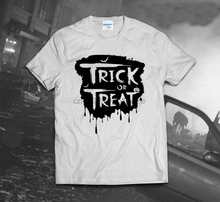 2019 100% Cotton Fashion Trick Or Treat T-Shirt Halloween Scary Horror Zombie Monster Bat Weird Funny casual Tops Tee shirt