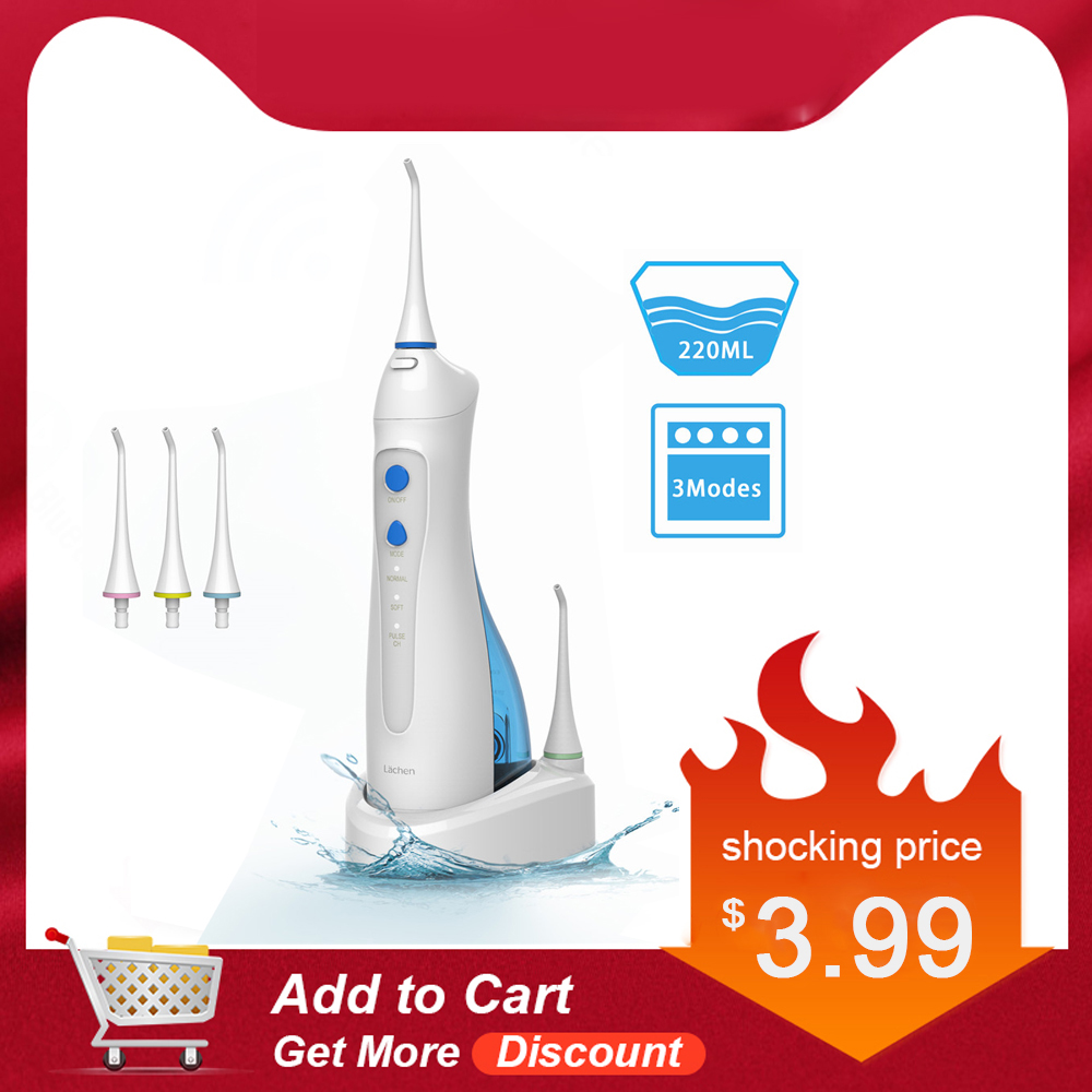 Lächen Cordless Water Flosser Rechargeable Dental Flosser Teeth Cleaner With 5 Jet Tip Oral Irrigator IPX7 Waterproof