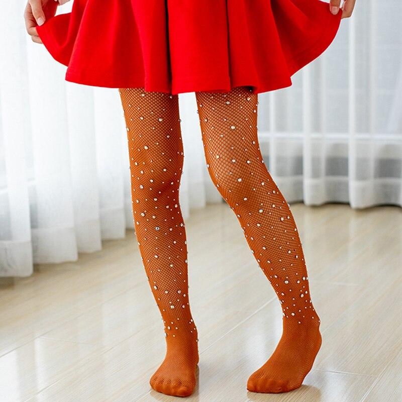 Children Tights Rhinestone Mesh Pantyhose Stockings Net Pattern Thin Pantyhose Summer Baby Tights for Girls Kids 4