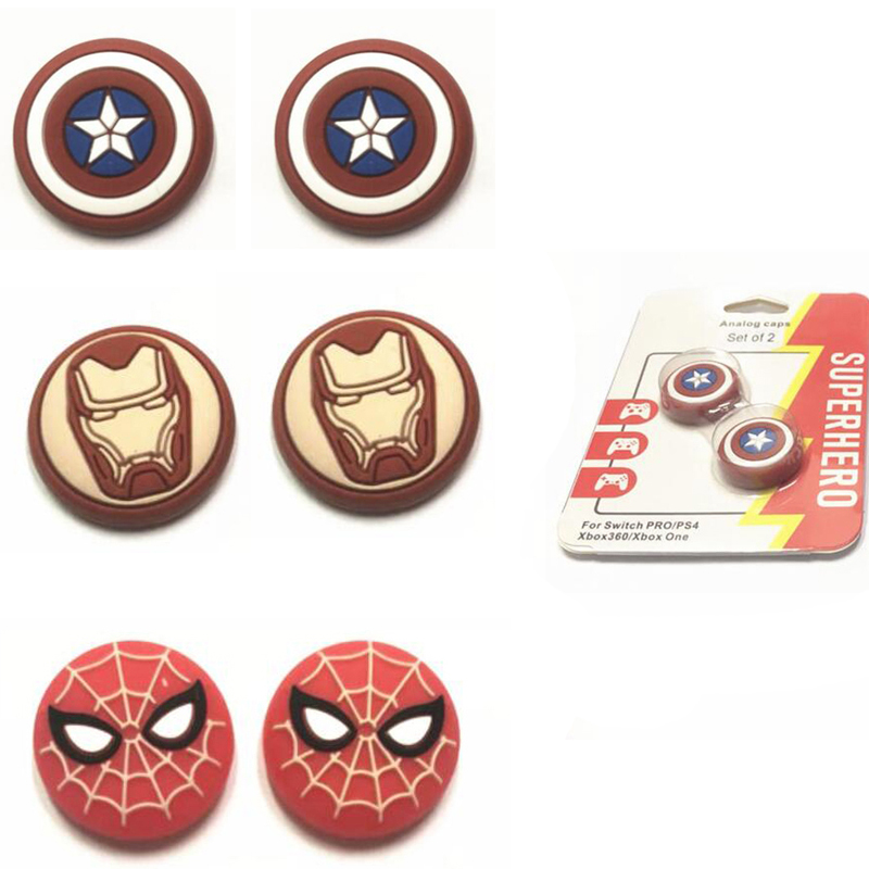 New Spider Iron Man Thumb Stick Grip Cap Thumbstick Joystick Cover Case For Sony PS3 PS4 Slim Xbox One 360 Switch Pro Controller