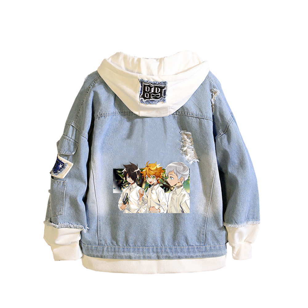 The Promised Neverland Unisex Demin Jacket Ray Emma Jeans Hoodies Spring Sweatshirt Harajuku Boys Streetwear Anime Couple Coats 2