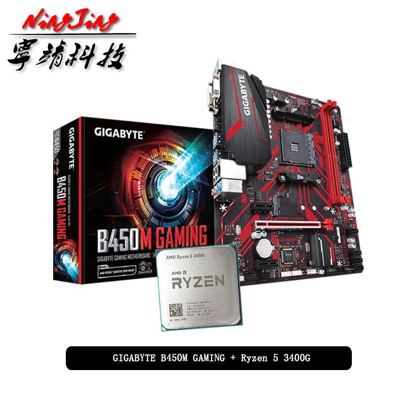 AMD Ryzen 5 3400G R5 3400G CPU + GA B450M GAMING Motherboard Suit Socket AM4 CPU + Motherbaord Suit Socket AM4 Without cooler|Motherboards| - AliExpress