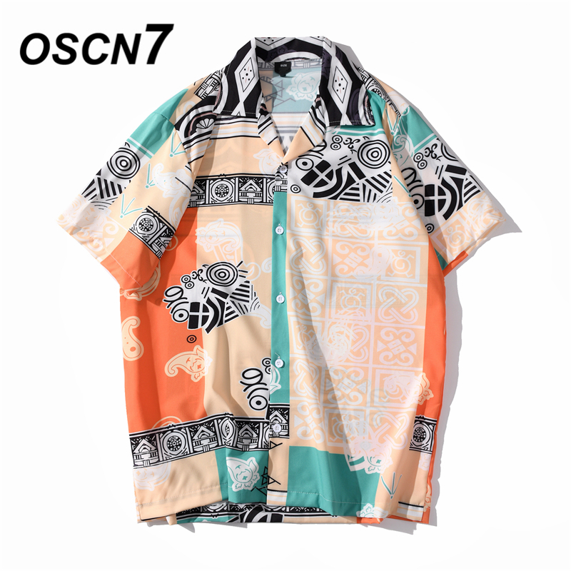 OSCN7 Casual Streetwear Beach Printed Short Sleeve Shirt Men 2020 Hawaii Oversize Fashion Harujuku Women Shirts XQ126