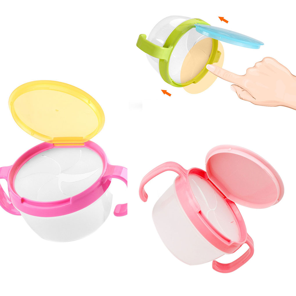Baby Feeding Bowls Baby Snacks Bowl Children Kids Food Storage Dishes Anti Spill 360 Rotate Baby Solid Feeding Plate Tableware