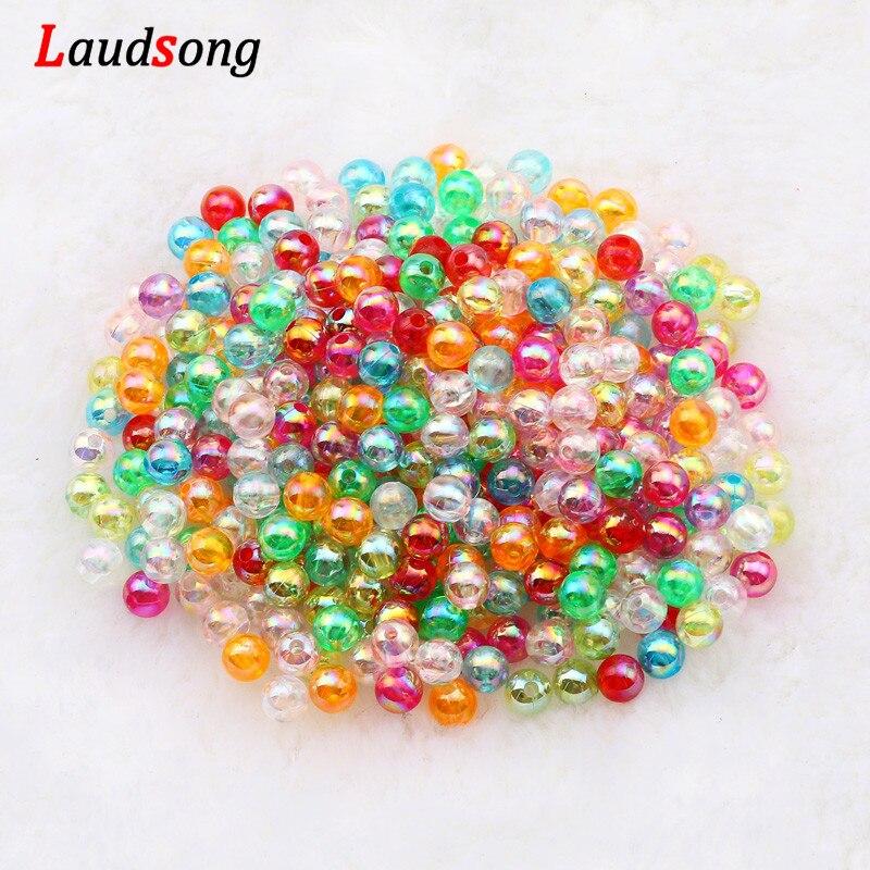 6/8/10mm Bunte Transparente Acryl Perlen Runde Lose Perlen Für Schmuck Machen DIY Kind Halskette Armband zubehör