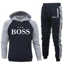 New Tracksuit Brand New Fashion Men Sportswear Yes Boss Print Men Hoodies Pullover Hip Hop Mens Patchwork Sweatshirts Clothing