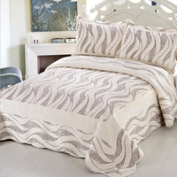 3pcs Bed cover Simple European style Bedding set Flannel Bedspread Cotton interlayer Quilt Single/double bed Blanket Pillowcases