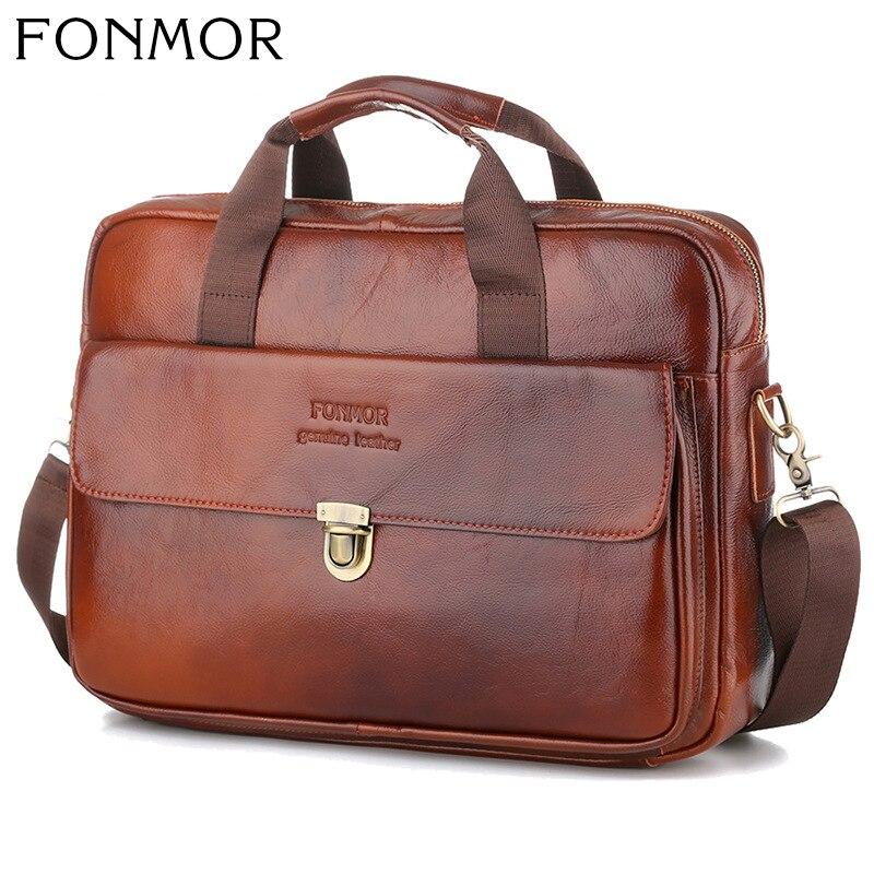 Men's Bag Genuine Leather Briefcase Bag Men Messenger Bag Brown Male Man Flap Shoulder Bags Men's Travel Handbags Documents
