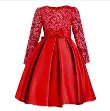 Детское кружевное платье с бантом, красное весеннее платье с длинным рукавом для девочек 3, 4, 5, 6, 7, 8, 9, 10, 11, 12 лет, OGF214420