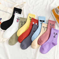 5 paare/paket Unisex Überraschung Mid Frauen Socken Harajuku Bunte Lustige Socken Frauen 100 Baumwolle Kawaii Größe 35-42