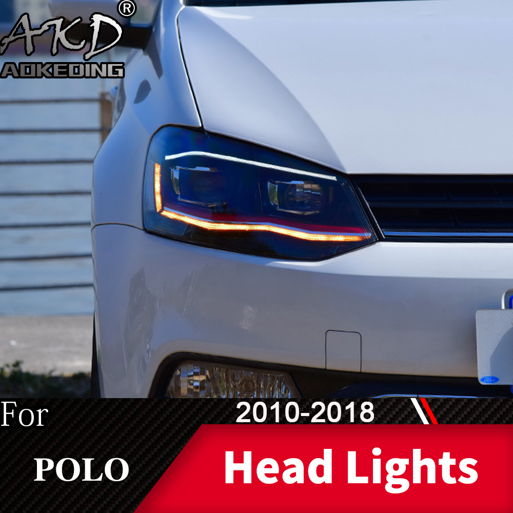 Head Lamp For Car VW POLO 2010-2018 POLO Headlights Fog Lights Day Running Light DRL H7 LED Bi Xenon Bulb Car Accessory