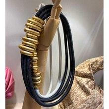 Cosmicchic 2020 mode élégant métal Becoration cuir ceinture haute rue sauvage multicouche ligne multicolore peau de vache ceinture
