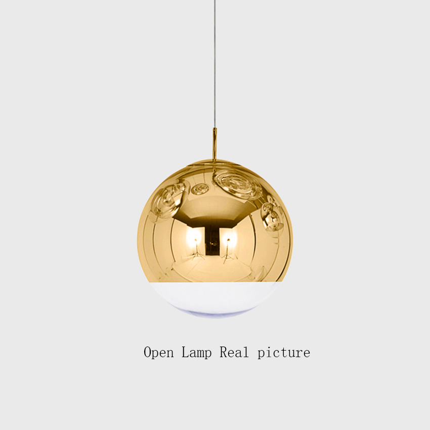 Nordic Silver Gold Copper Shade Lighting Glass Globe Ball Pendant Light Round LED Pendant Lamps Luminaire Kitchen Light Fixtures