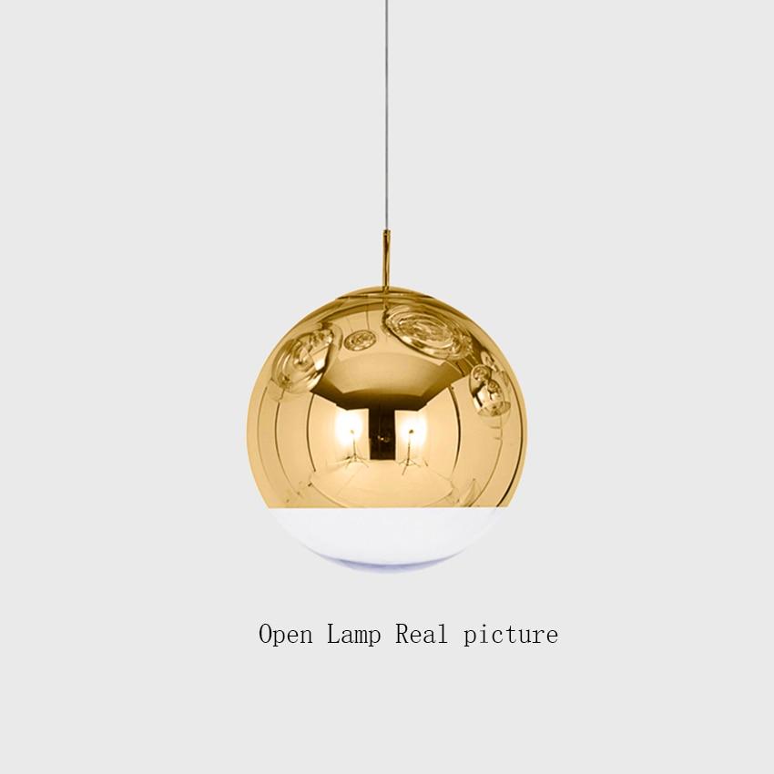 Nordic Silver Gold Copper Shade Lighting Glass Globe Ball Pendant Light Round LED Pendant Lamps Luminaire Kitchen Light Fixtures