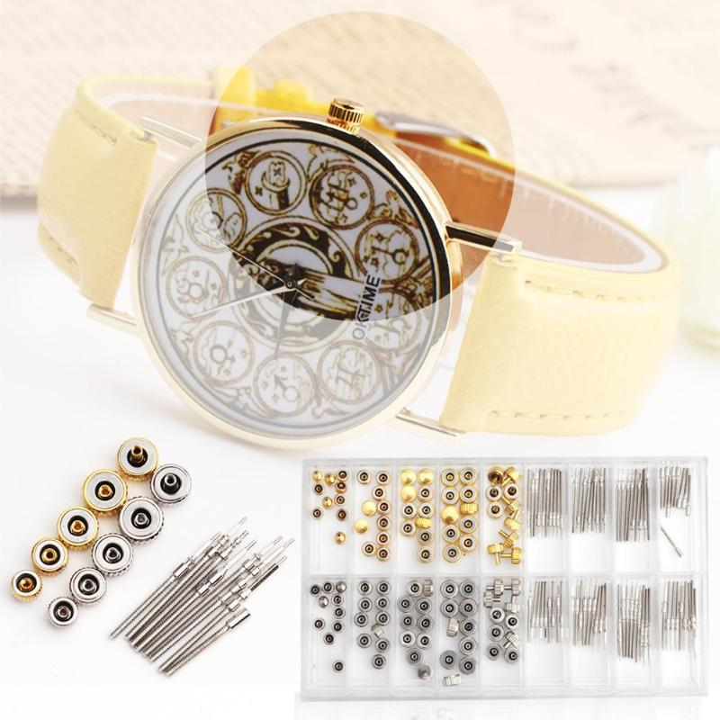 170pcs/box Watch Crown Replacement Watchmaker Repair Accessories Tool Kits