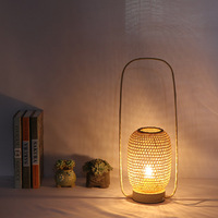 New Chinese Japanese Country Bamboo Hand Knitted Zen Art Table Light Teahouse Hotel Homestay Bedroom Reading Study Led Desk Lamp