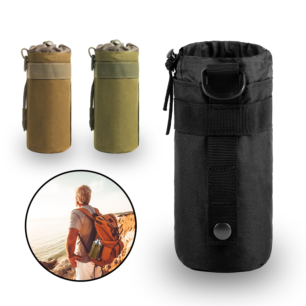 <font><b>Tactical</b></font> Water Bottle Pouch Airsoft 600D Outdoor Hiking <font><b>MOLLE</b></font> Open Top Hydration Pouch Hunting Water Bag Backpack Accessories image